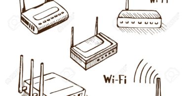 Wireless router vector sketch icon set isolated on background. Wi-Fi  modem.