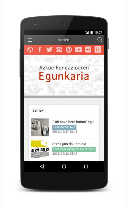 Azkue Fundazioaren Egunkaria blogaren aplikazioa - irudiak