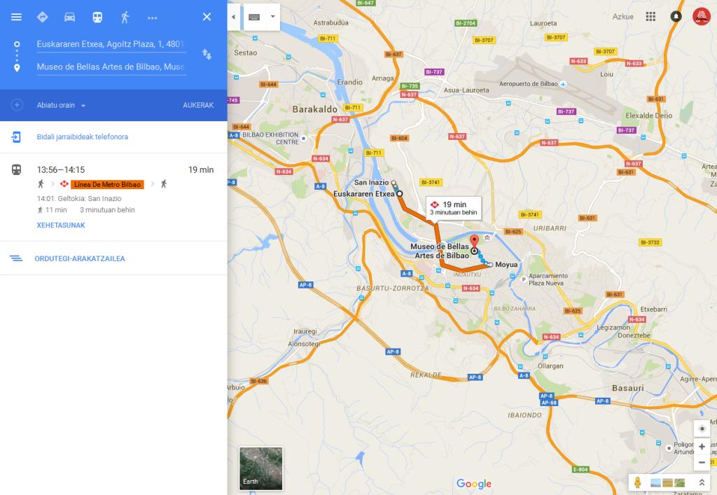 GoogleMaps-Ibilbidea