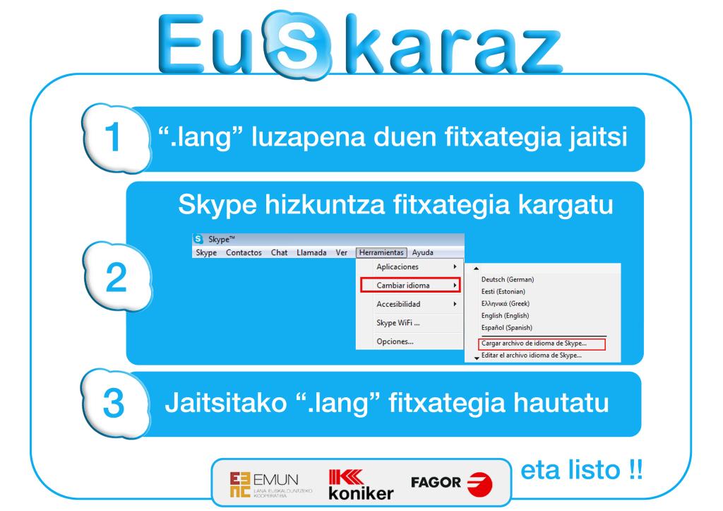 Skype euskaraz erabiltzen