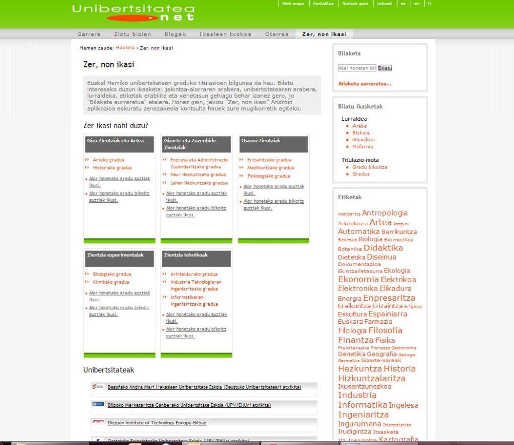 Unibertsitatea.net webgunea